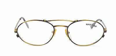 Naf-Naf ELLY Oval Sporty Metal Double Bridge Bronze Gold Black Eyeglasses France