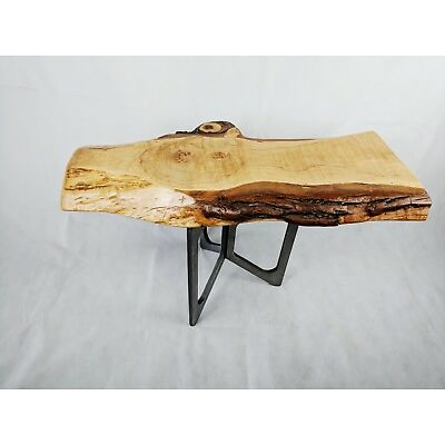 KWW Live Edge Maple Wood  Side Table on Hand-crafted Steel base