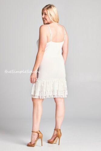 NWT ODDI Long Ruffle Lace Jersey Knit Cami Tank Top Dress Extender Slip Liner