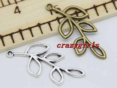 6/30/150pcs Antique Silver/Bronze hollow leaves Charms pendant Connector 41x19mm