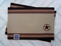 Cowboy Placemats Kay Dee Embroidered Cowboy Star Pattern
