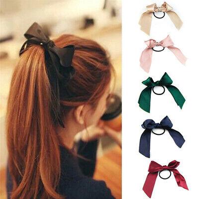 Black Ribbon Bow Hair Elastic Hair Accessories Ribbon Bow Hair Elastic Ponytail