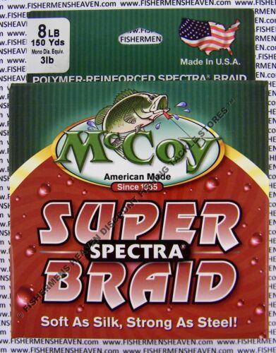McCoy Ligne de Pêche Braid Moyenne Vert Spectra Bobine 150 Yd environ 1.36 kg test 8 lb diamètre 3 Lb environ 137.16 m environ 3.63 kg