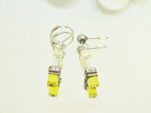 Ohrhänger cubo Cat Eye amarillo vaso de cristal limón pedrería conector brisur 502g