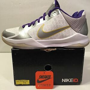 Nike-Zoom-Kobe-Bryant-V-5-Sz-12-Kid-Hollywood-ID-White-Purple-Black-81-IV-I-Vi-X