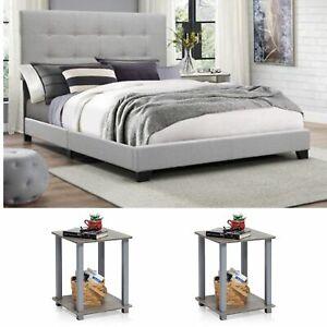 Full Size Bedroom Set Grey Modern Furniture Bed Headboard Wood Fabric End Table Ebay