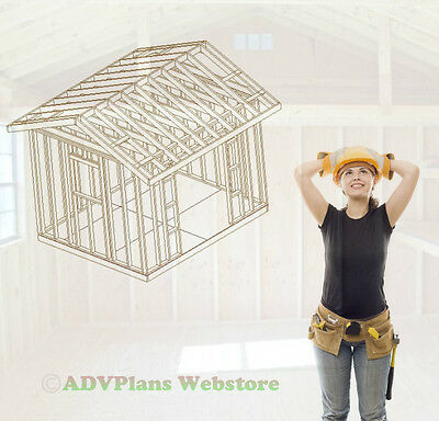 10X12 GABLE BACKYARD SHED STORAGE FOR YOUR YARD TOOLS CAD DESIGNED CD OF PLANS