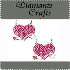 2 x 35mm Hot Pink & Clear Diamante Devil Hearts Rhinestone Vajazzle Body Art Gem