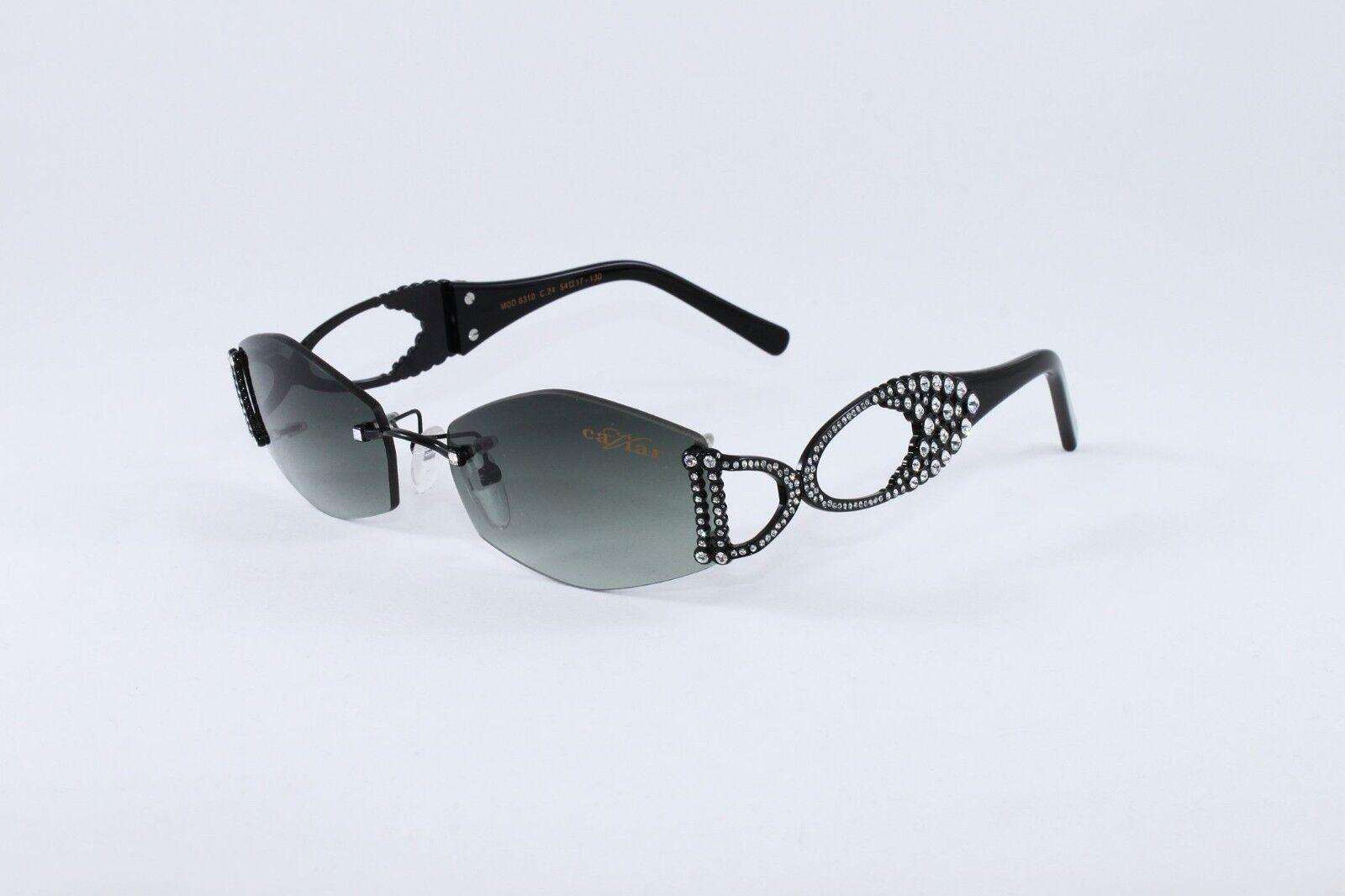 c28e52f6670c CAVIAR Sunglasses 6310 C24 Champagne Series Black Austrian Crystals ...