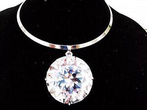 Huge-Large-Big-Clear-Gem-Crystal-Rhinestone-Necklace-Bib-Pendant-Choker-Silver