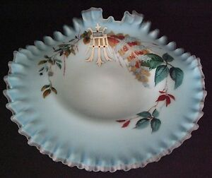 Antique-Jack-In-The-Pulpit-Bride-039-s-Shallow-Bowl-Blue-Satin-Enamel-Decorated