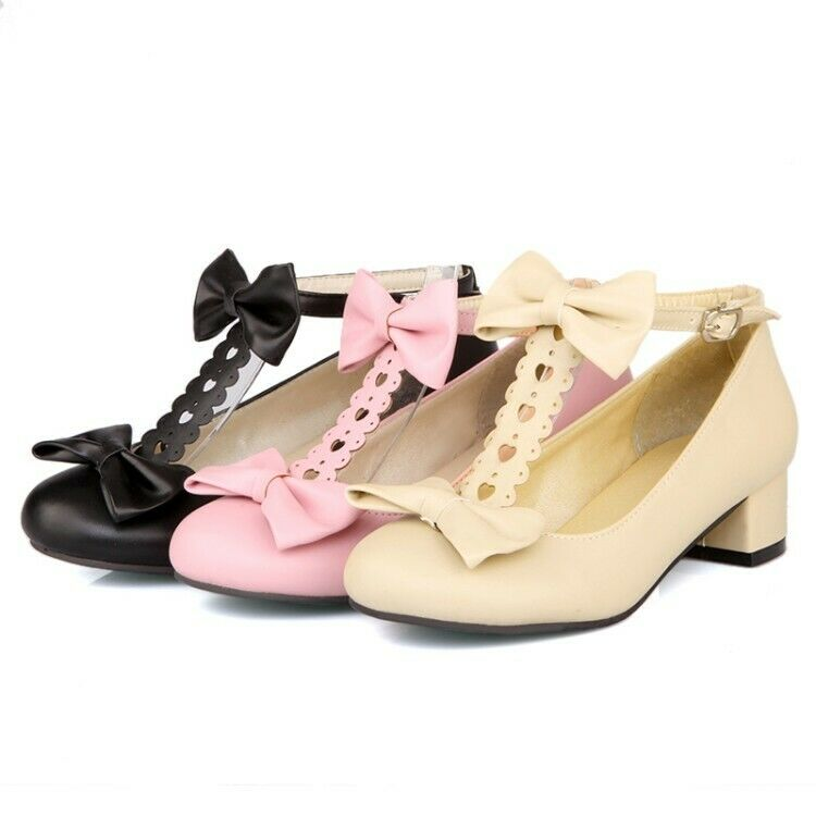 Bowknot Lolita Mary Janes Ankle Strap Womens Fashion Block Heel Sandals Cosplay