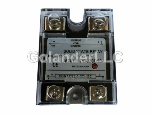 Clear Cover 10A 3-32VDC to 5-220VDC Solid State Relay SSR