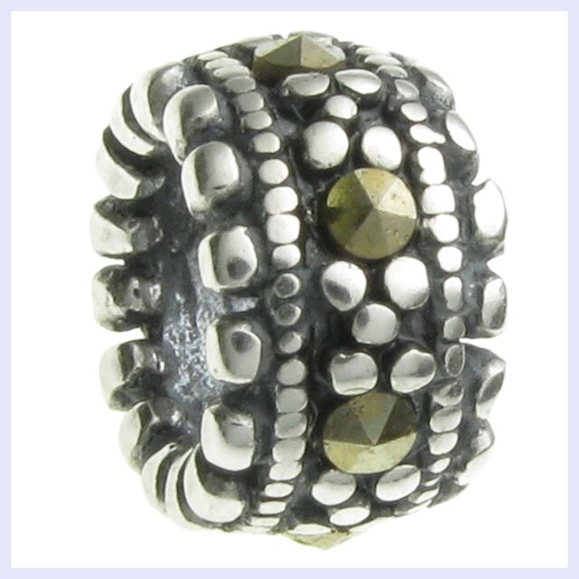Sterling Silver Round Rondelle MARCASITE Dots Bead for European Charm Bracelet