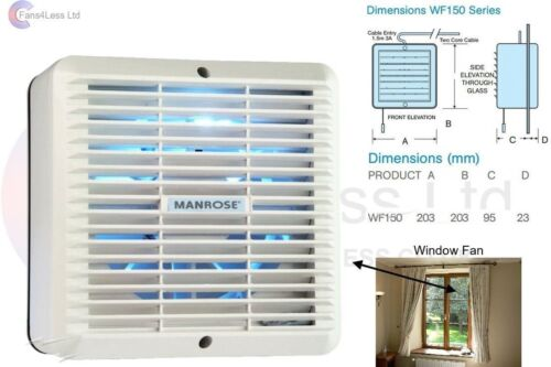 """Internal Shutters WF150A Manrose Standard On//Off 150mm 6/"""" Window Extractor Fan"""
