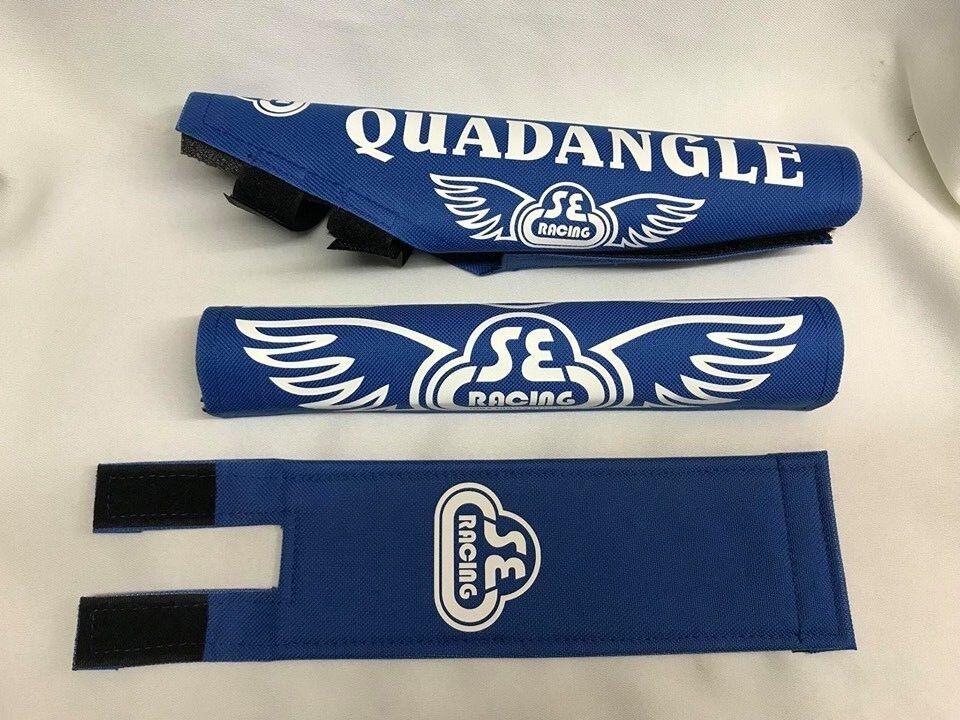 Old School BMX SE Racing QUADANGLE Pad Re Made Sets  frame handlebar stem white  up to 65% off