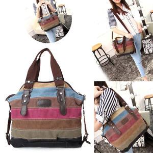 f621a796b2 Image is loading Women-Stripe-Canvas-Handbag-Shoulder-Messenger-Gallent- Crossbody-