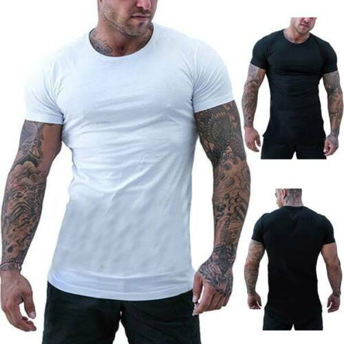 Slim fit summer tops casual t shirts blouse o neck muscle tee short sleeve