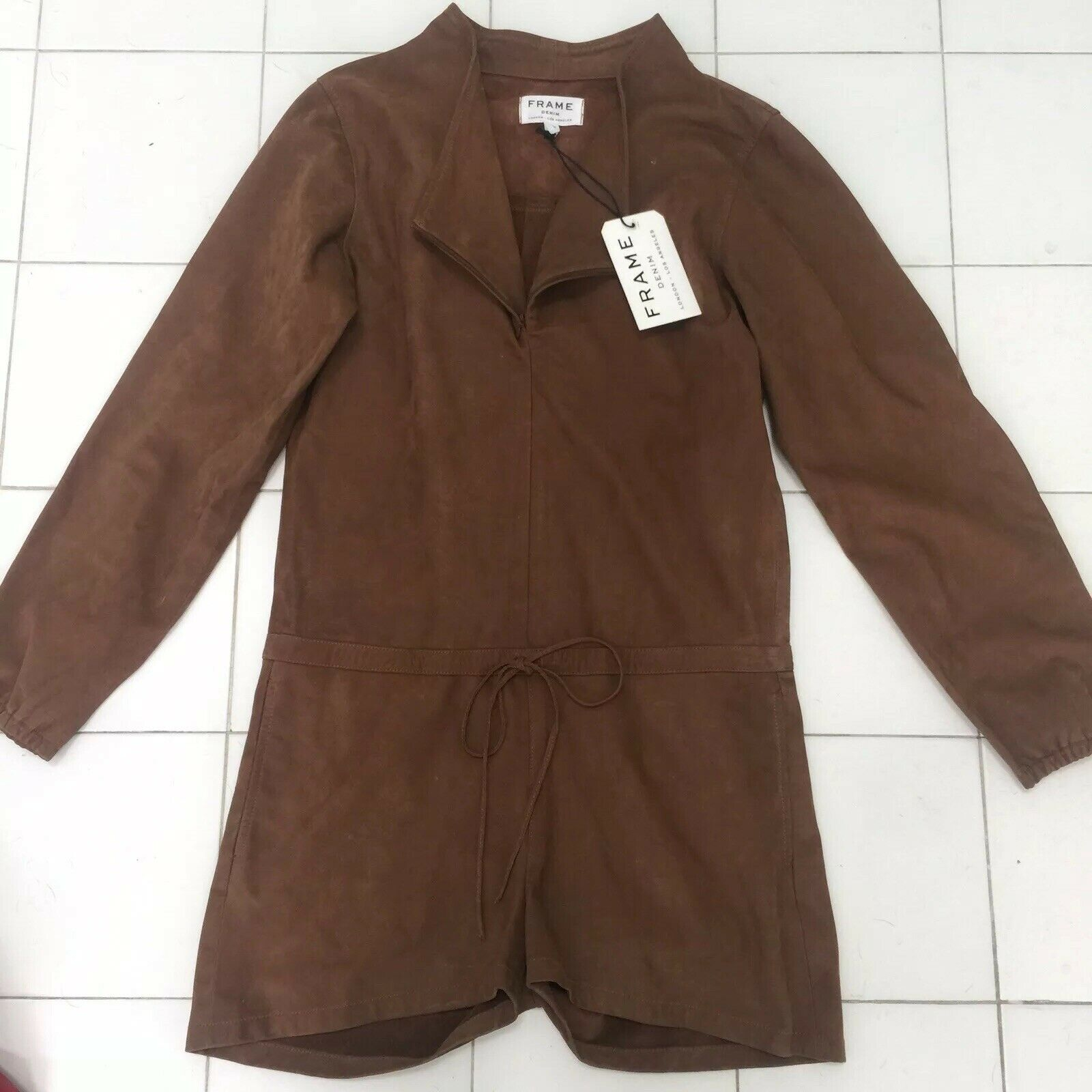 NWT FRAME DENIM Brown Suede Jumper Romper Small  995