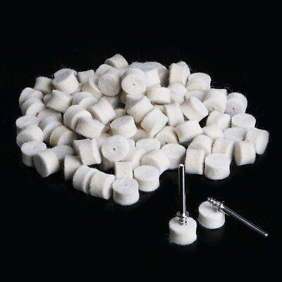 100x Wool Felt Polishing Wheel Buffing Pad 2 Mandrels Rotary 13mm Sale