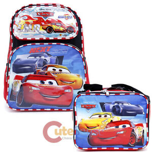 "Cars Large School Backpack and Lunch Bag Set Top Racer 16/"" Book Bag 2pc Set"