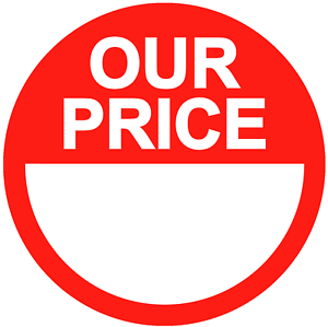 Red Thermal Printer Circular Price Labels // Stickers Our Price