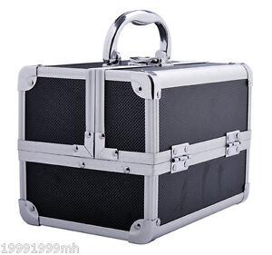 HomCom Cosmetic Makeup Box Train Travel Case Jewelry Organizer Storage Aluminium