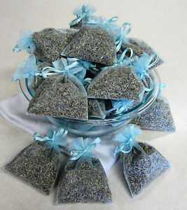 Set of 20 Lavender Sachets made with Royal Blue Organza Bags