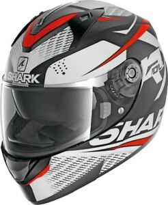 CASCO-MOTO-SHARK-INTEGRALE-RIDILL-1-2-STRATOM-MAT-Black-white-red-TAGLIA-S
