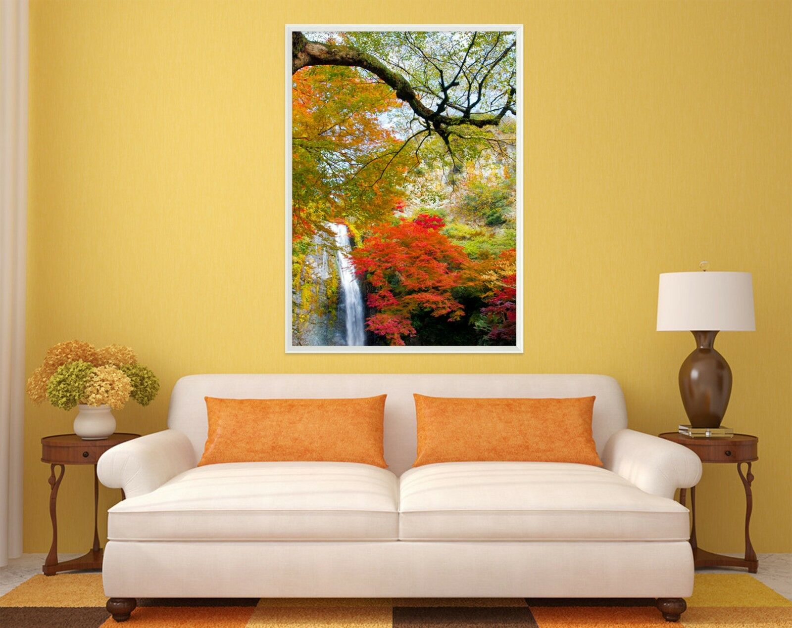 3D Rojo árboles Cascada 1 Póster Enmarcado Decoración del Hogar Pintura de Impresión Arte Wallpaper