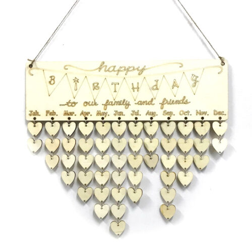 wooden happy birthday reminder board plaque sign hanging family/&friends calend #
