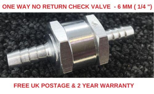 6-12mm InLine UNIDIREZIONALE NON RITORNO VALVOLA di Ritegno Carburante//Acqua//Gas//Aria//vuoto in alluminio