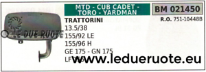 75110448 MARMITTA SCocheICO TRATTORINO RASAERBA MTD CUB CADET GE175 GN175 LF155