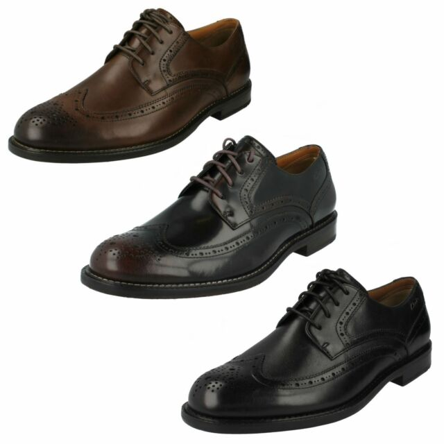 1238acb2143 MENS CLARKS LACE UP FORMAL SMART PUNCHED BROGUE LACE UP SHOES DORSET LIMIT
