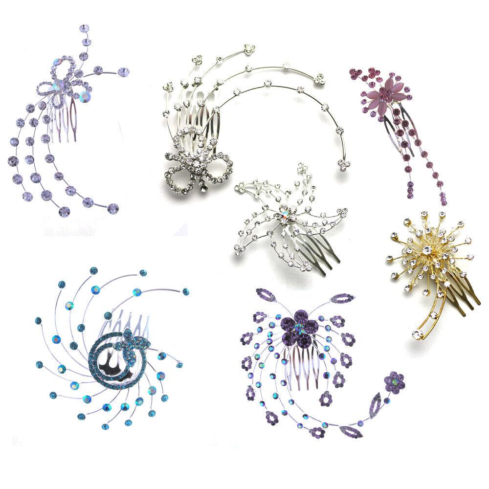 Wedding Hair Comb Crystal Diamante Headdress Bridal Accessories Ladies Slide
