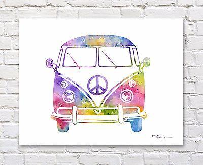 VW Bus Art Print Contemporary Abstract Watercolor Wall Decor