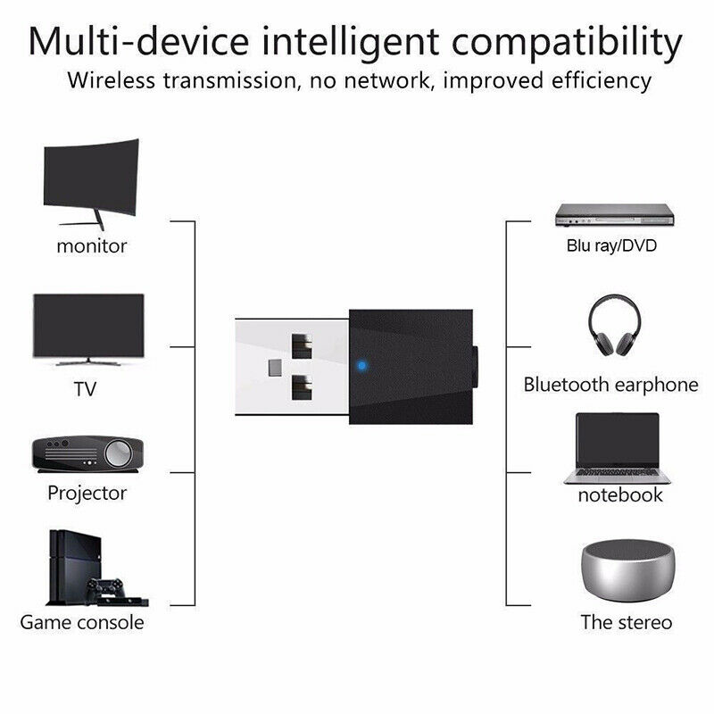 Mini USB Wireless Bluetooth 3.5 mm Audio Stereo Music Receiver Adapter AUX Car 5