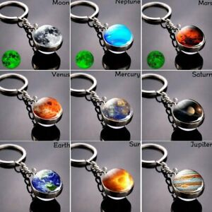 PLANET NEPTUNE Outer Space Galaxy Quality Chrome Keyring Picture on Both Sides