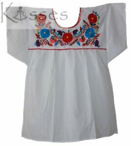 Details About Mexican Peasant Blouse Hand Embroidered Top Colors Vintage Style Tunic White