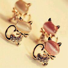 #1073 Korean Fashion Cute Cat Stone Crystal Rhinestone Stud Earrings