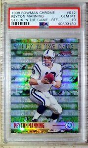 1999 Bowman Chrome #S12. Peyton Manning. REFRACTOR. PSA 10 (POP 9) HOC85🔥