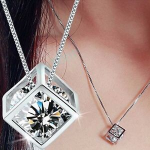 Silver-Plated-Fashion-Women-039-s-Crystal-Rhinestone-Necklace-Chain-Pendant-N