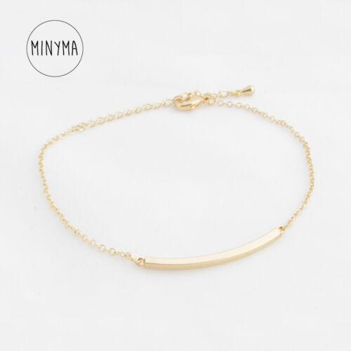"minyma /""Curved Bar/"" Stab Armband Armkette Bracelet Stab Balken minimal gold"
