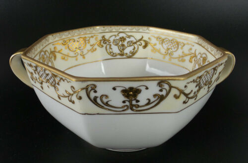 Noritake Octagonal 2 Handle Bowl M Wreath HandPainted Gold Moriage Art Nouveau