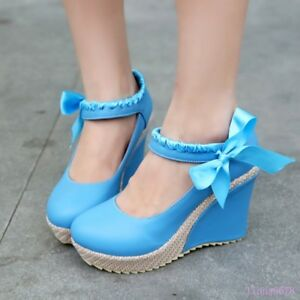 Ladies-Platform-Wedge-heels-shoes-Ankle-strap-Round-toe-Mary-Jane-Bowknot-Casual