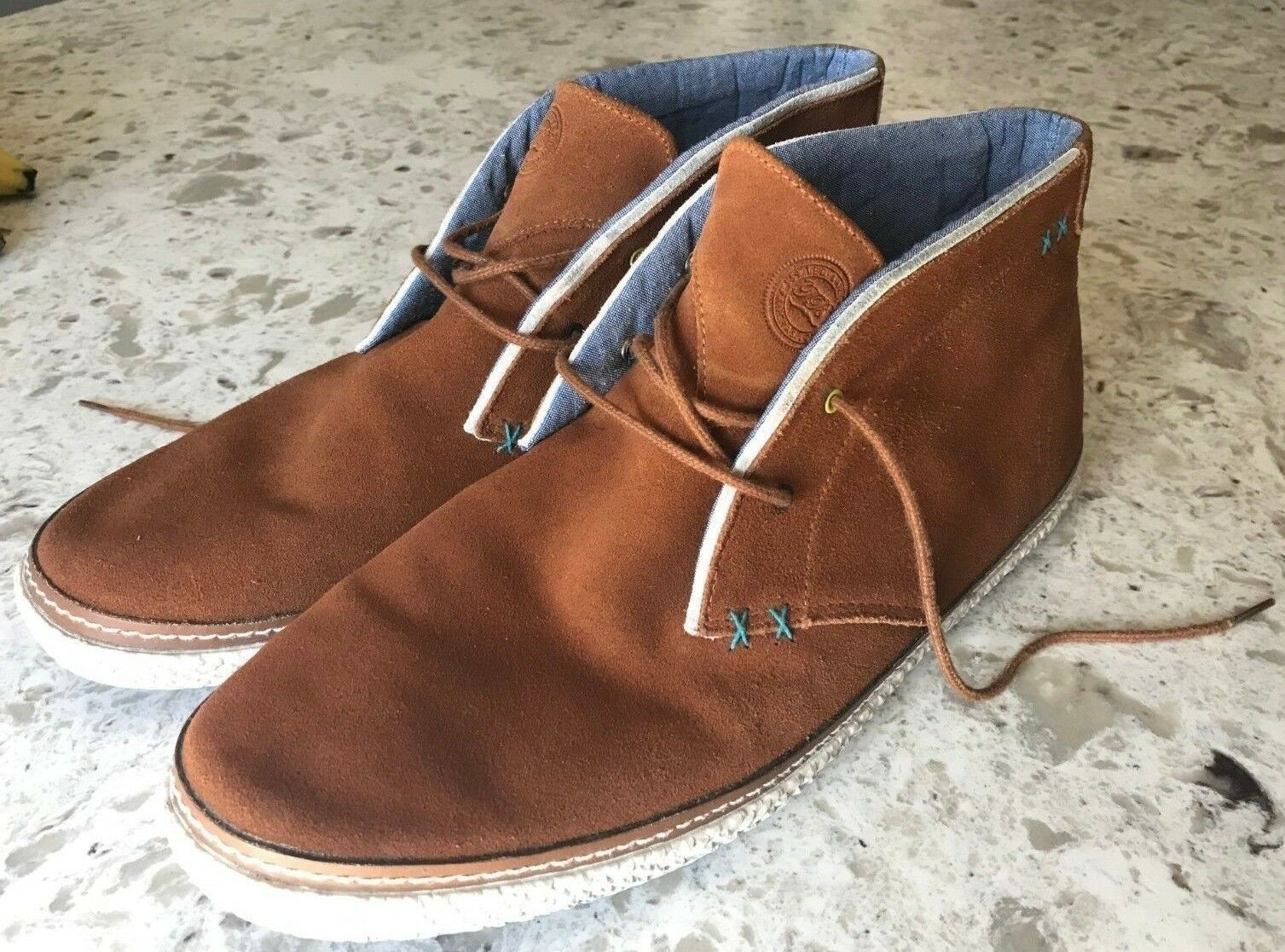 TED BAKERS Mens Saddle Tan SUEDE LEATHER Abdon 2 Desert Boots Size 12