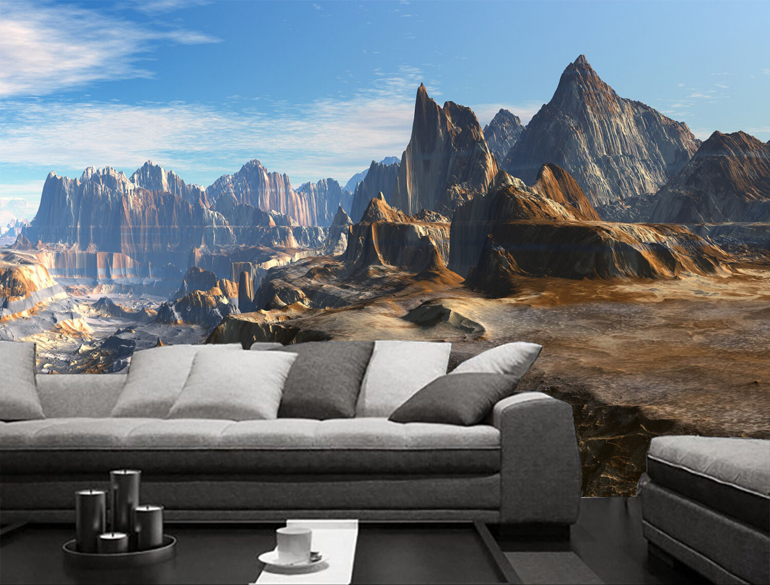 3D Planet mountain Space Wall Paper Print Decal Wall Deco Indoor wall Mural