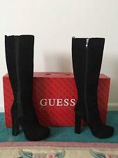 Guess Black Suede Zip Up High Heel Boots