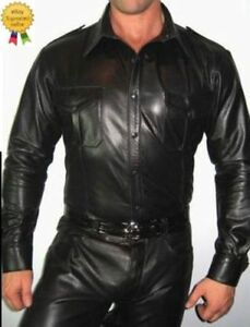 Men-039-s-Hot-and-Attractive-Police-Uniform-Shirt-Genuine-Real-Black-Sheep-Lamb