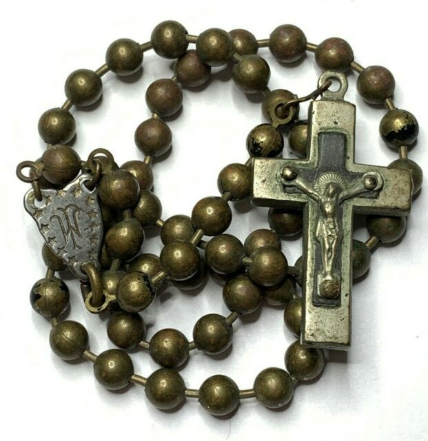 Vintage French  Rosary with fine centre  and brass/&ebony crucifix